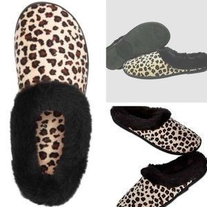 Urban Outfitters Leopard Print Furry Soft Slippers